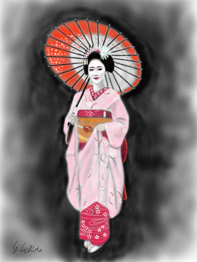 Ipad Painting - Geisha No.137 by Yoshiyuki Uchida