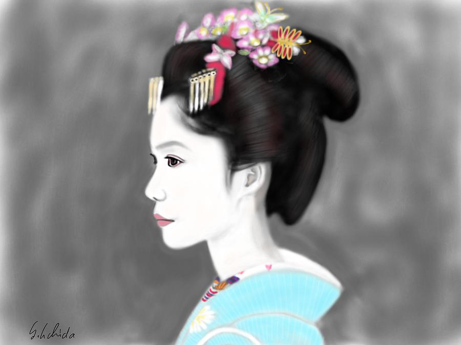 Ipad Painting - Geisha No.139 by Yoshiyuki Uchida