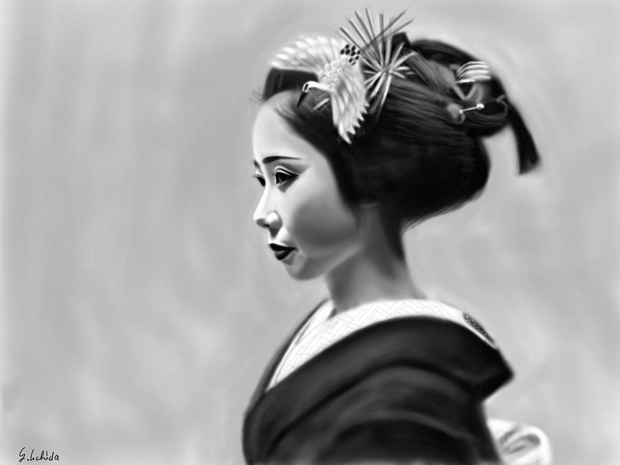 Ipad Painting - Geisha No.140 by Yoshiyuki Uchida