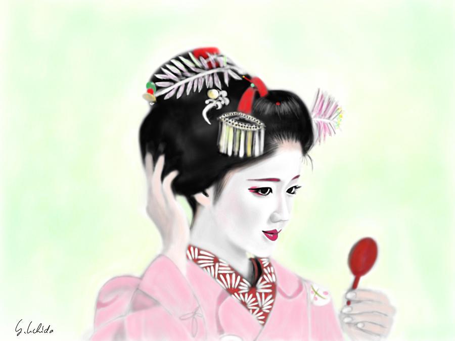 Ipad Painting - Geisha No.142 by Yoshiyuki Uchida