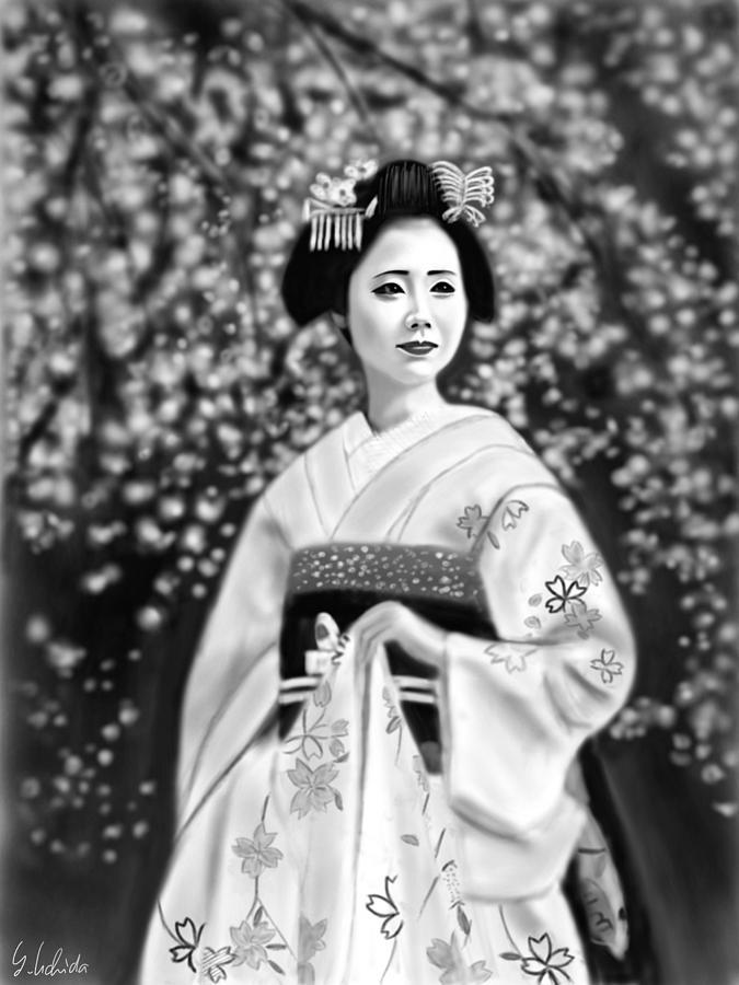 Ipad Painting - Geisha No.146 by Yoshiyuki Uchida