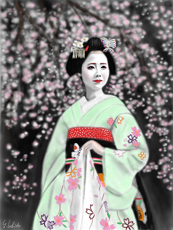 Ipad Painting - Geisha No.147 by Yoshiyuki Uchida
