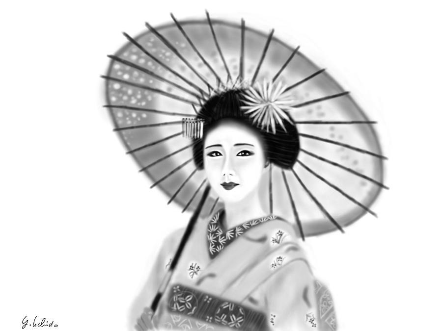 Ipad Painting - Geisha No.148 by Yoshiyuki Uchida