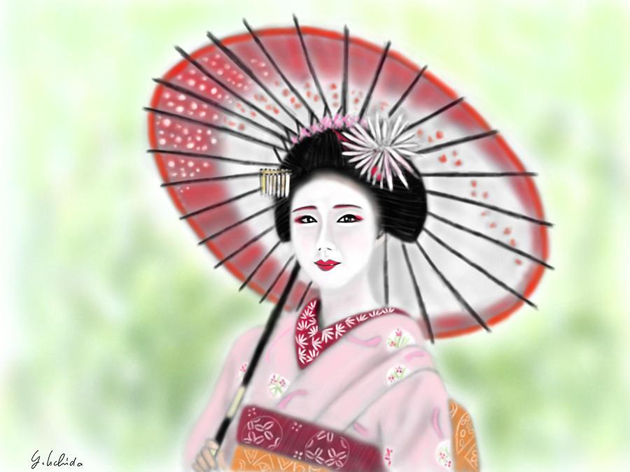 Ipad Painting - Geisha No.149 by Yoshiyuki Uchida