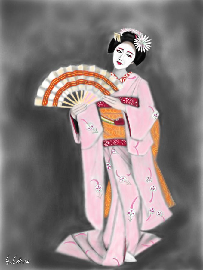 Ipad Painting - Geisha No.188 by Yoshiyuki Uchida