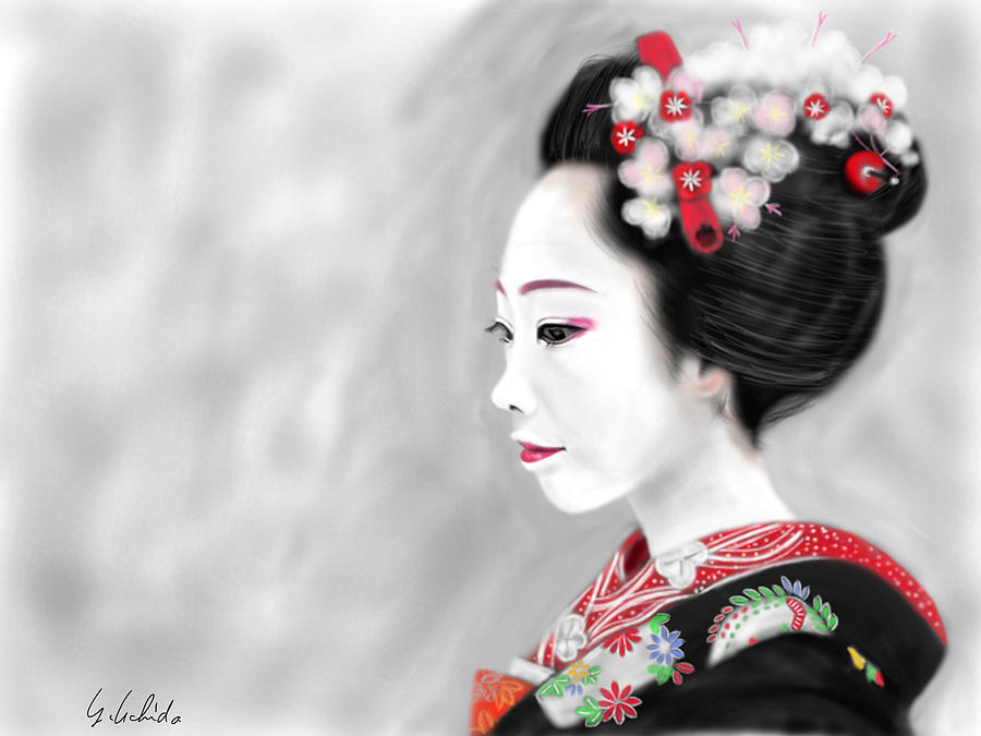 Ipad Painting - Geisha No.200 by Yoshiyuki Uchida