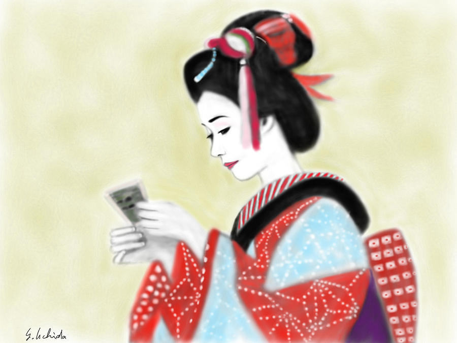 Ipad Painting - Geisha No.218 by Yoshiyuki Uchida