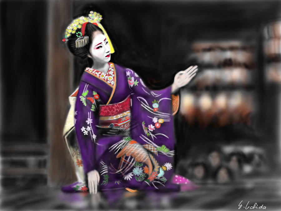 Ipad Painting - Geisha No.9 by Yoshiyuki Uchida