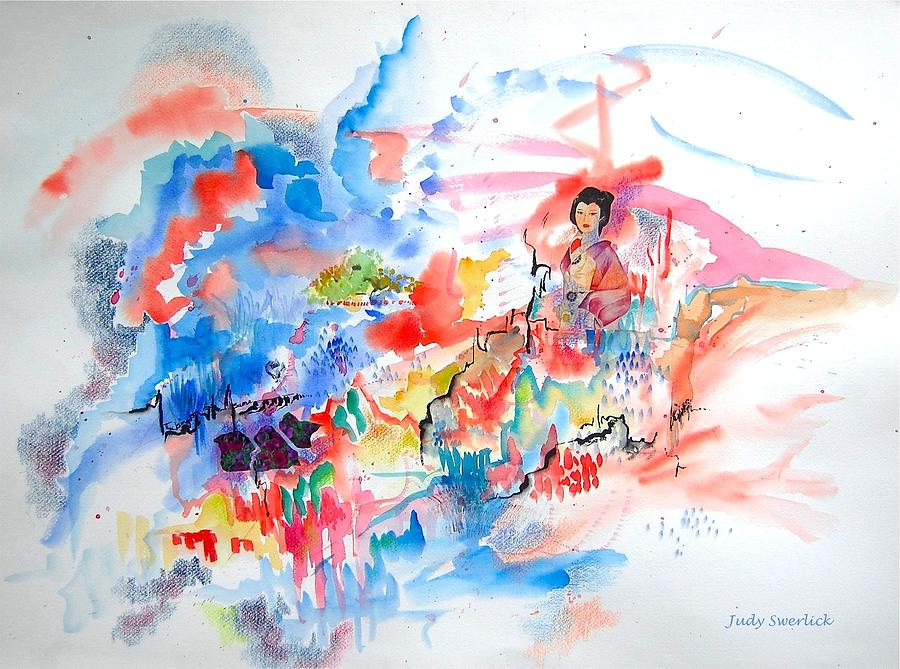Geisha Mixed Media - Geisha On Mountain Top by Judy Swerlick