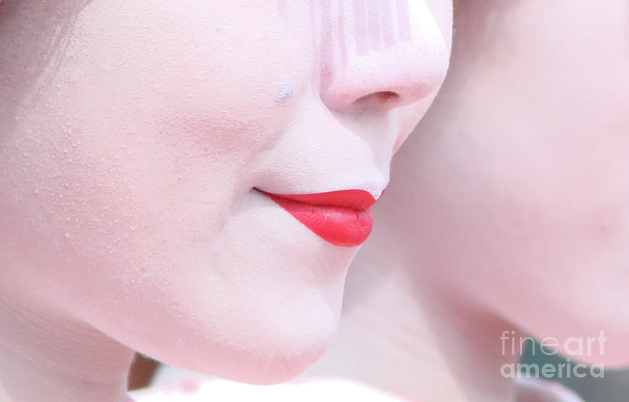 Lips Photograph - Geisha Smile by Delphimages Photo Creations