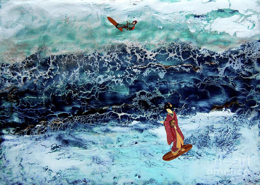 Geisha Surfing  Digital Art by Andy  Mercer