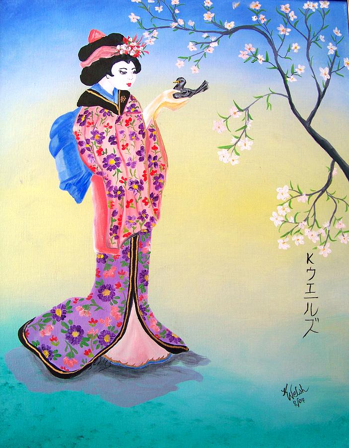 Geisha With Bird Painting by Kathern Welsh