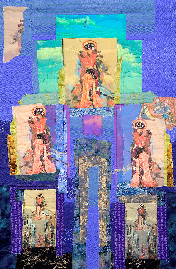 Quilt Painting - Geisha With Blue Sky by Roberta Baker