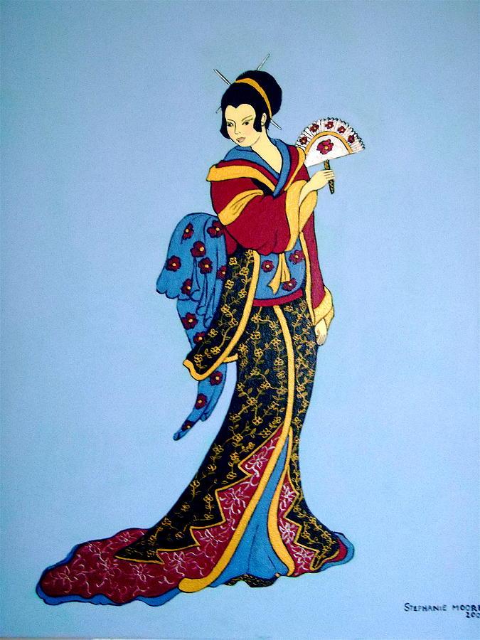 Something similar? Genuine woodprint painting of geishas will