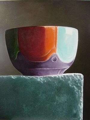 Stillife Painting - Gekleurd Kommetje by Kees Blom