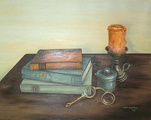 Books Painting - Gelehrsamkeit - Stilleben Mit Buechern Und Brille by Haike Espenhain