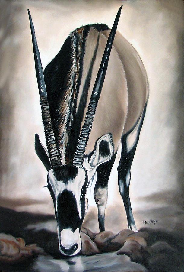 Wildlife Painting - Gemsbok - Thirst by Ilse Kleyn