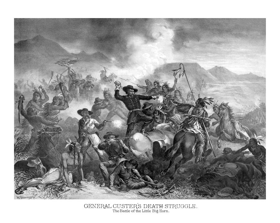 General Custer Drawing - General Custers Death Struggle  by War Is Hell Store