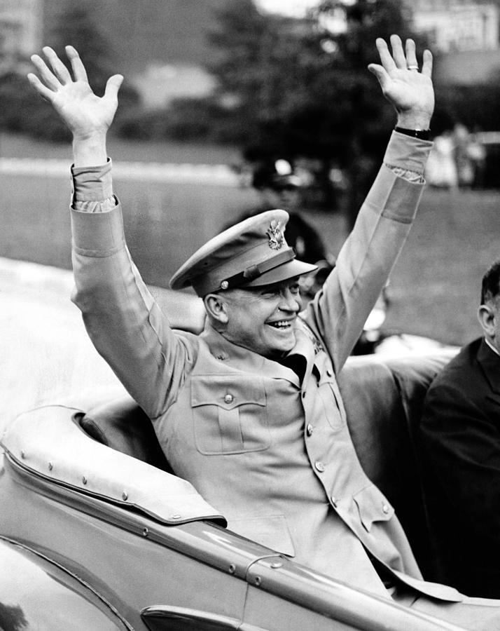 History Photograph - General Dwight Eisenhower Raises Both by Everett