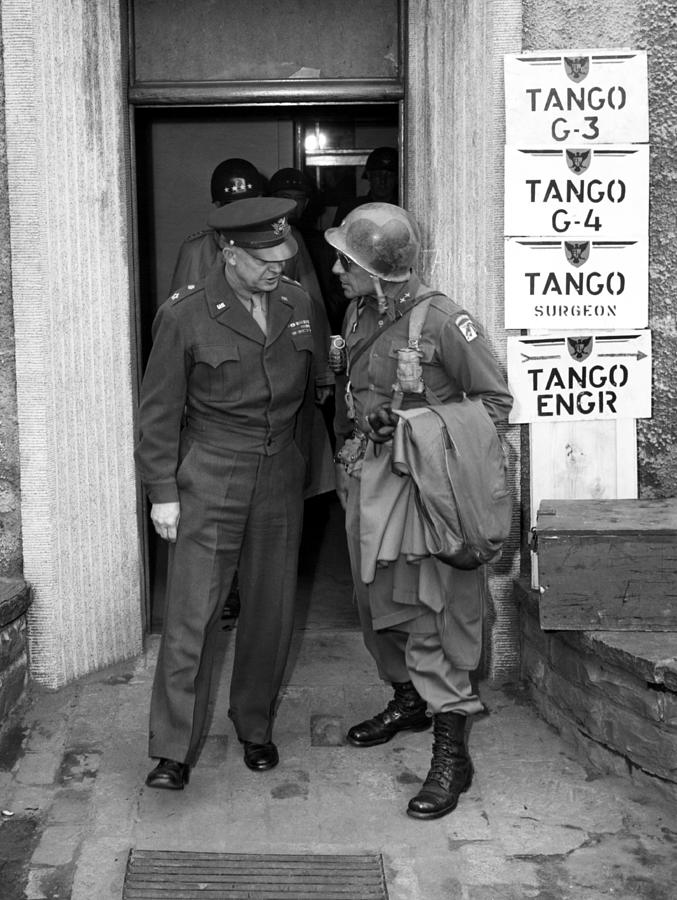 Matthew Ridgway Photograph - General Eisenhower And General Ridgway  by War Is Hell Store