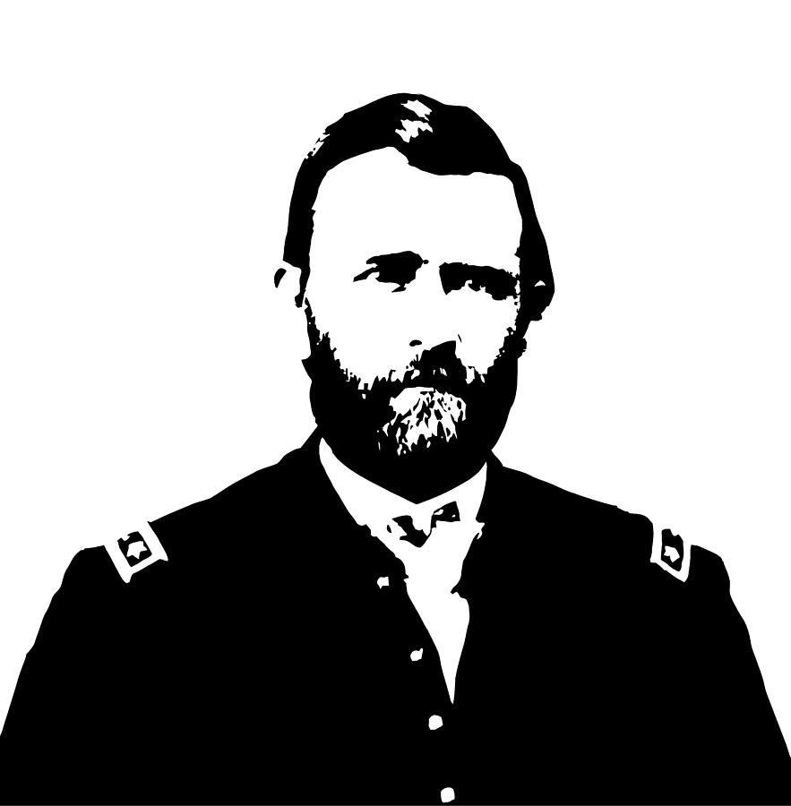 Us Grant Digital Art - General Grant Black And White  by War Is Hell Store
