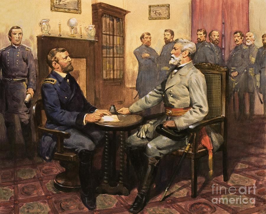 General Grant Meets Robert E. Lee By English School (20th Century) Great Commanders: Hero Of The Southland. General Grant Meets Robert E. Lee. America; Army; Soldiers; American; Flag; American Civil War; Robert E Lee; General Grant; Surrender; Confederate; Union; Us Painting - General Grant Meets Robert E Lee  by English School