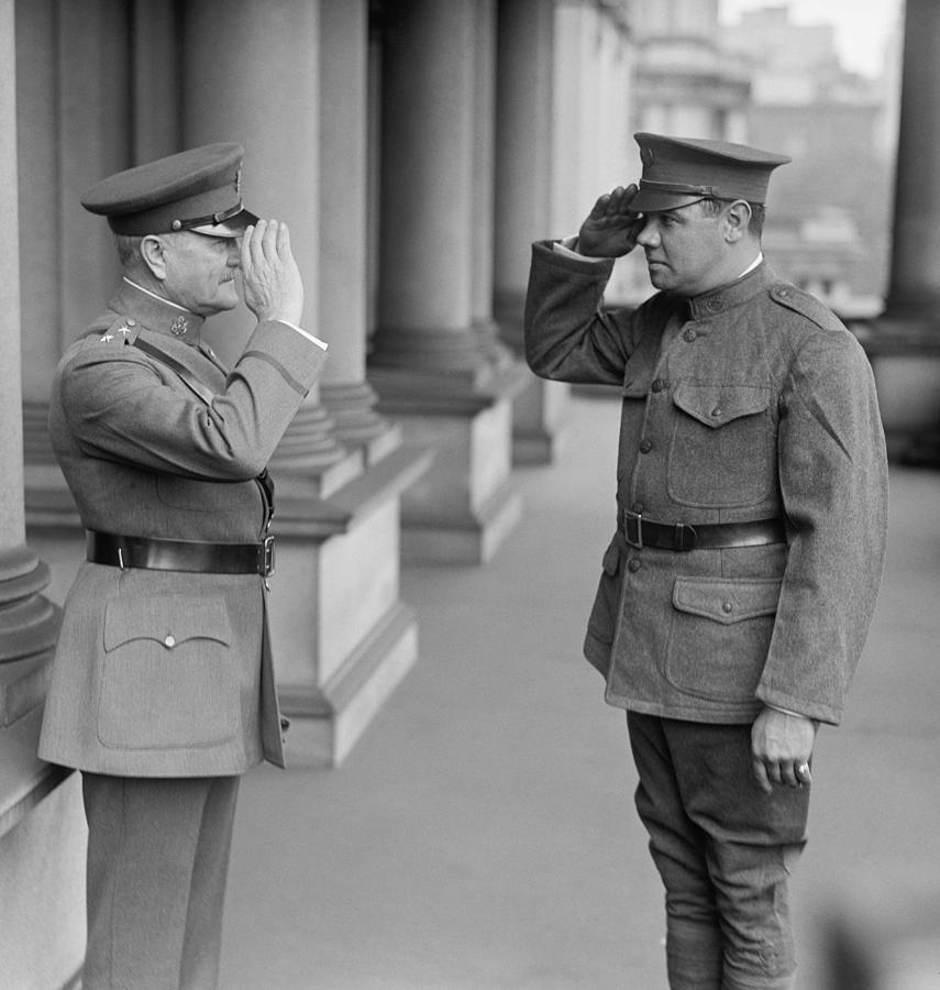 General Pershing Photograph - General John Pershing saluting Babe Ruth by War Is Hell Store