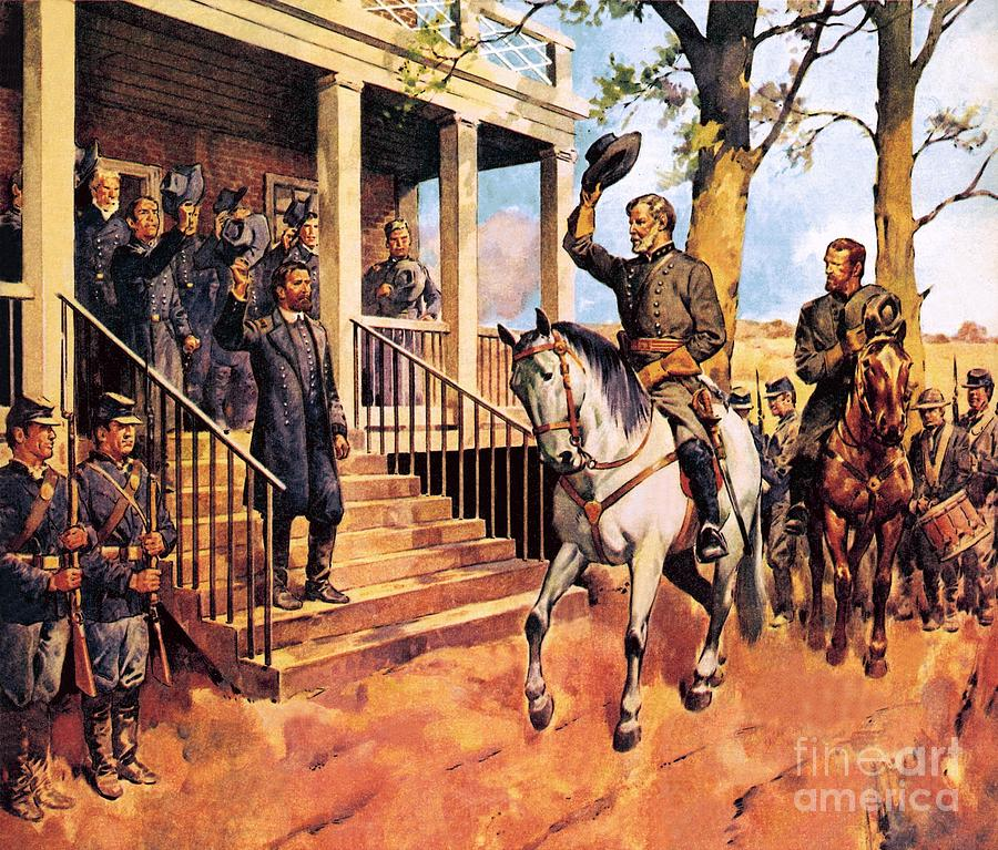 Robert E Lee Painting - General Lee And His Horse traveller Surrenders To General Grant By Mcconnell by James Edwin