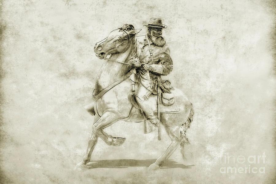 Sketch Digital Art - General Longstreet At Gettysburg by Randy Steele