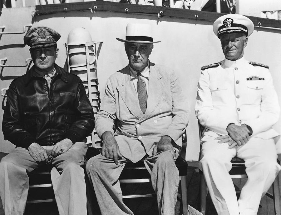 World War 2 Photograph - General Macarthur - President Roosevelt - Admiral Nimitz - 1944 by War Is Hell Store
