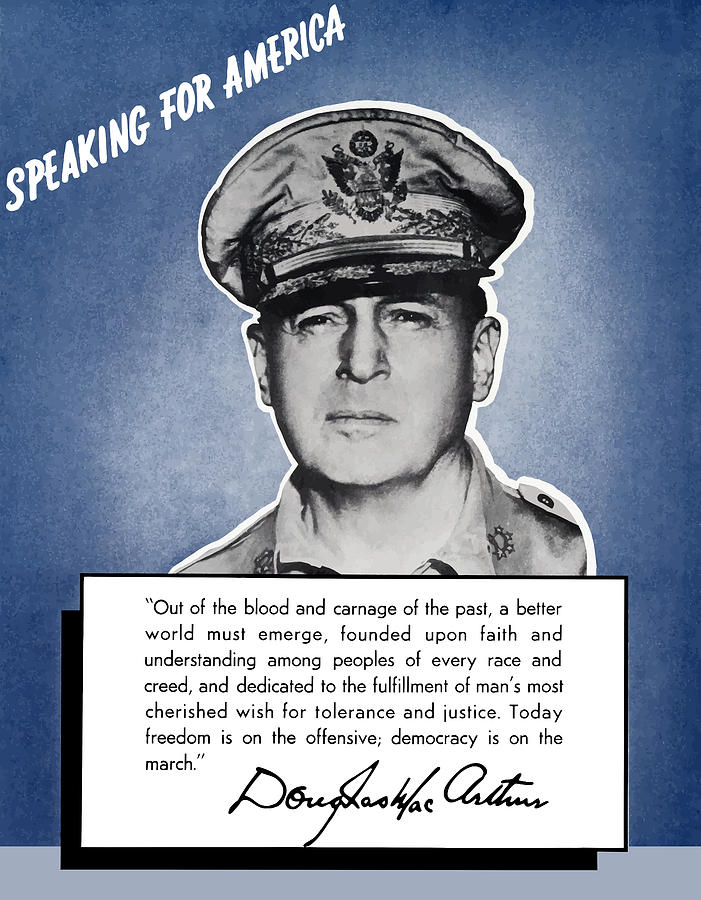 General Macarthur Speaking For America Painting