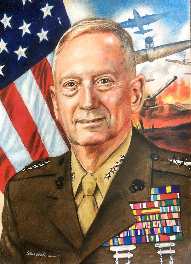 General Mattis Portrait Drawing by Robert Korhonen