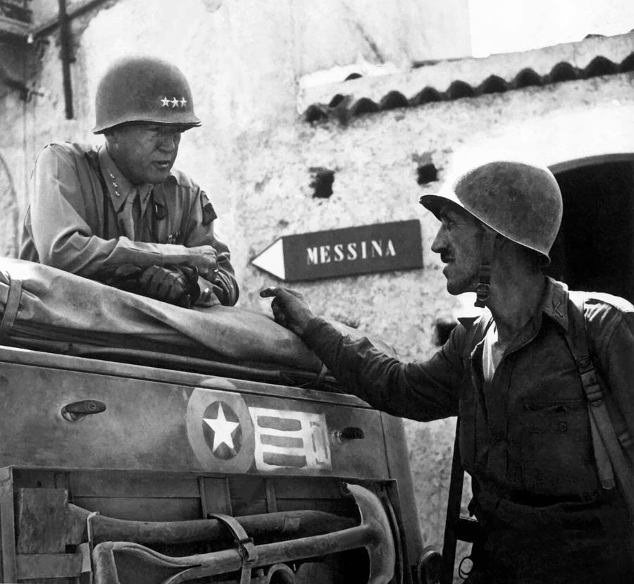 General Patton Painting - General Patton In Sicily by War Is Hell Store