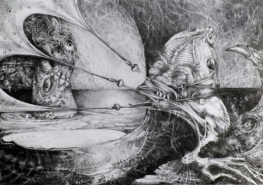 Surrealism Drawing - General Peckerwood In Purgatory by Otto Rapp