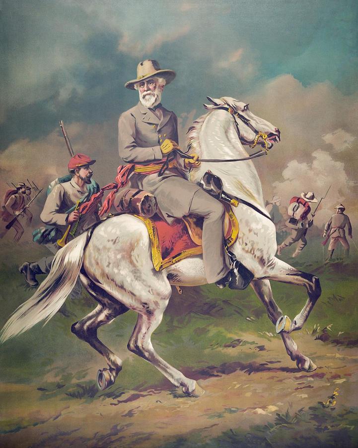 General Lee Painting - General Robert E. Lee on Horseback by War Is Hell Store