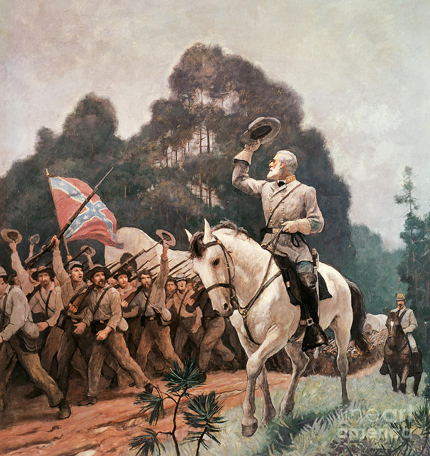 Wyeth Painting - General Robert Lee Saluting The Troops Heading To The Front by Newell Convers Wyeth