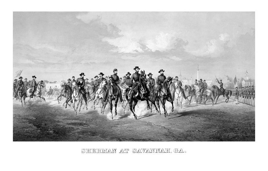 William Sherman Mixed Media - General Sherman At Savannah by War Is Hell Store