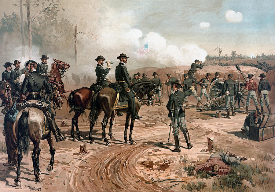General Sherman Painting - General Sherman Observing The Siege Of Atlanta by War Is Hell Store