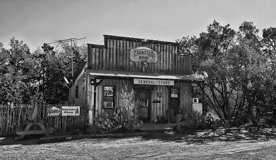 General Store Near Fredericksburg Black and White by Judy Vincent