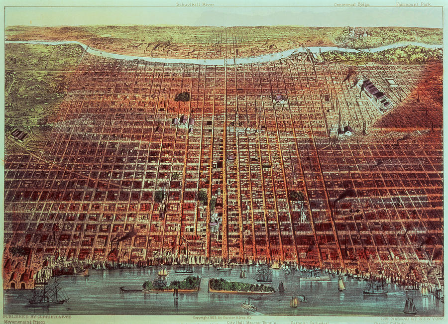 General Painting - General View Of Philadelphia by Currier and Ives