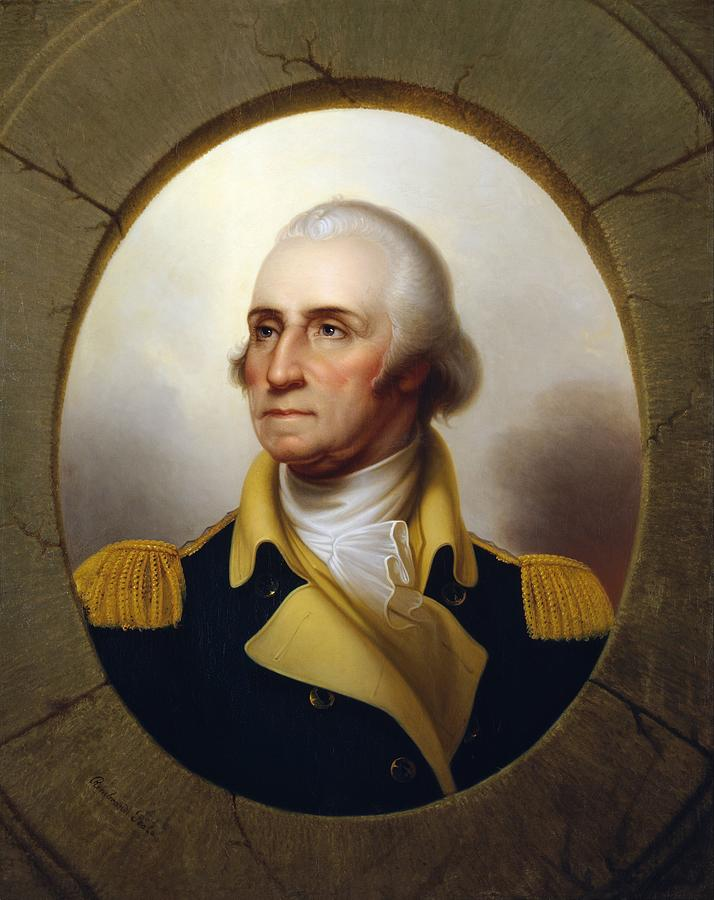 George Washington Painting - General Washington - Porthole Portrait  by War Is Hell Store