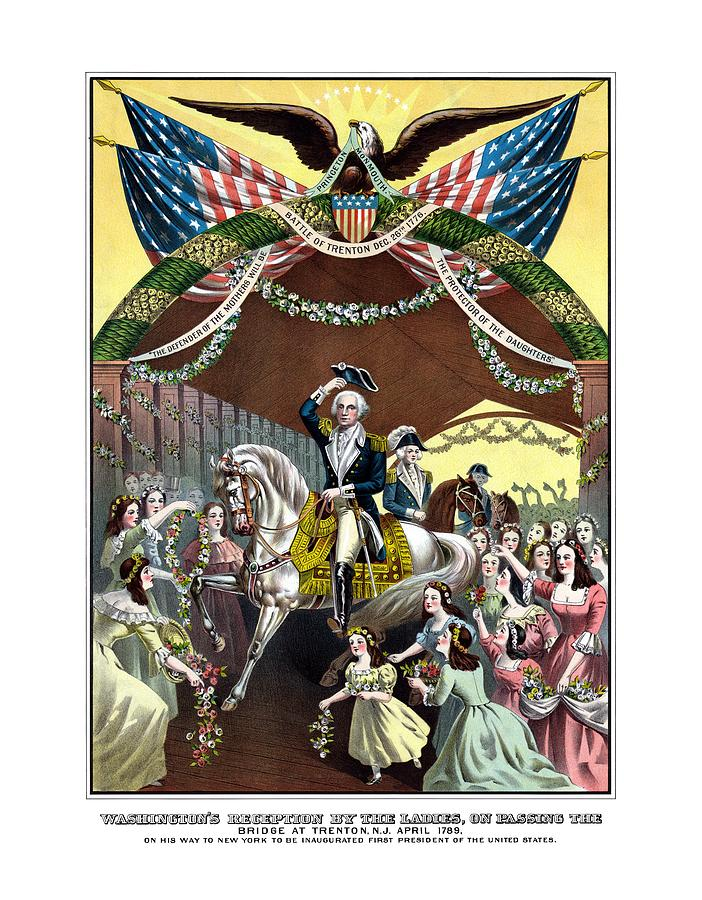 President Washington Painting - General Washingtons Reception At Trenton by War Is Hell Store