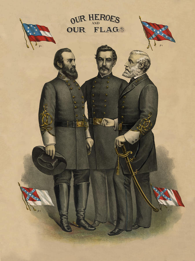 Confederate Painting - Generals Jackson Beauregard and Lee by War Is Hell Store