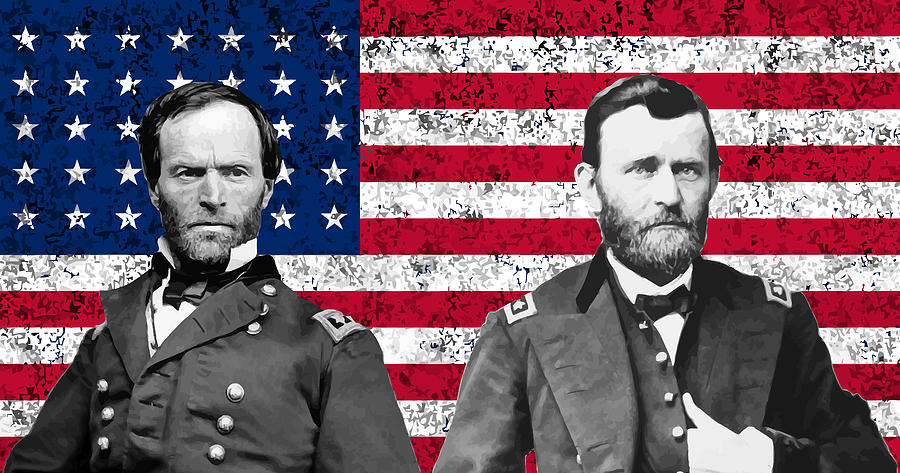 Civil War Painting - Generals Sherman And Grant  by War Is Hell Store