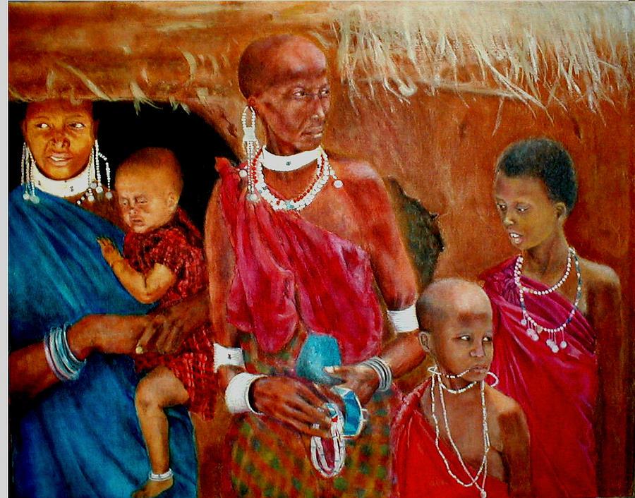 Maasai Painting - Generations3 by G Cuffia
