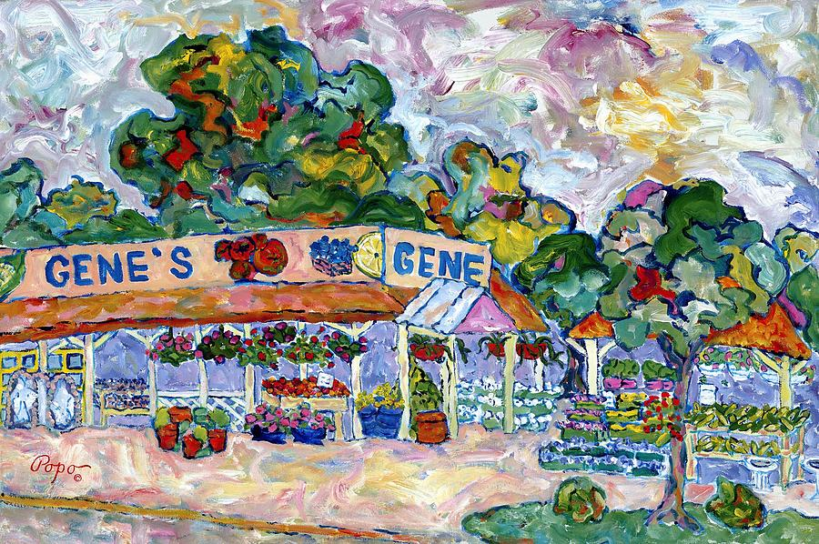 Genes Farm Stand Painting by Popo  Flanigan