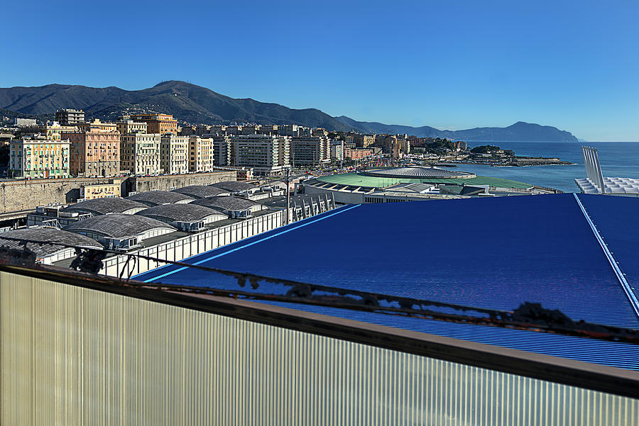 Abandoned Places Photograph -  Genova Town Landscape From Abandoned Office Building Roof by Enrico Pelos