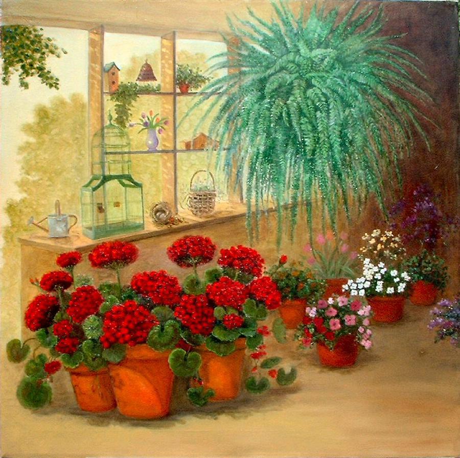 Greenroom Painting - Gens Green Room by Jeanene Stein
