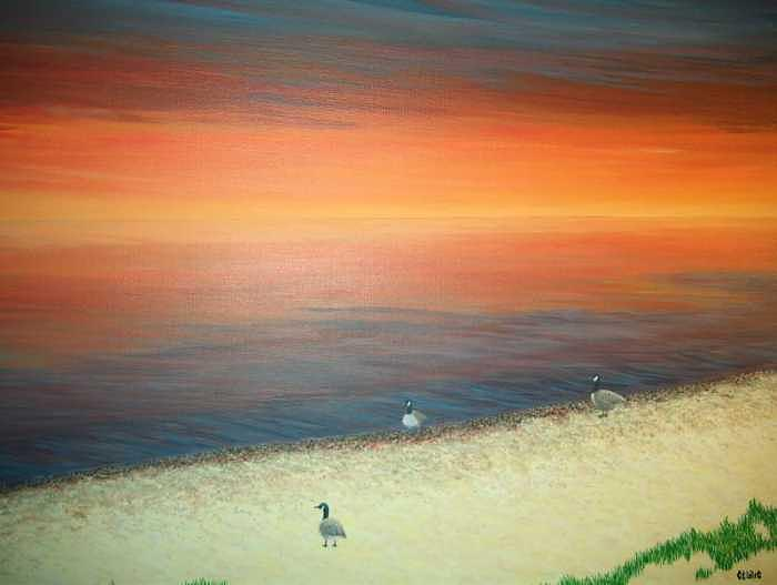 Geese Painting - Gentle Sunset by Cedric Colond
