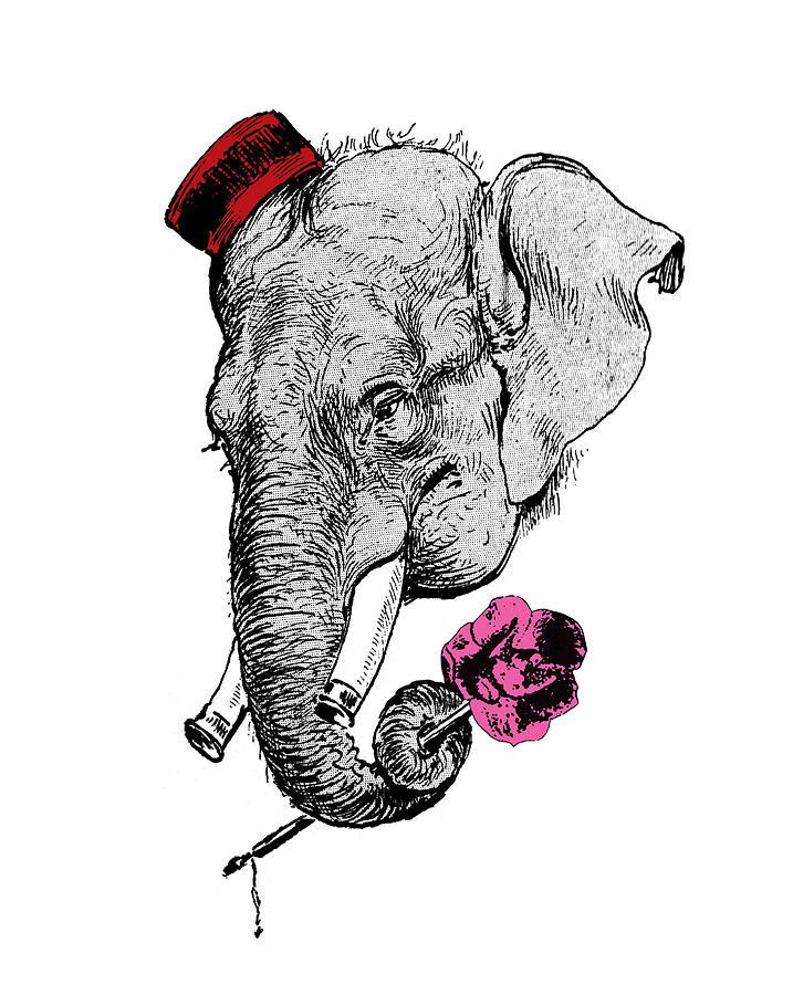 Elephant Digital Art - Gentleman Elephant With Pink Rose by Madame Memento